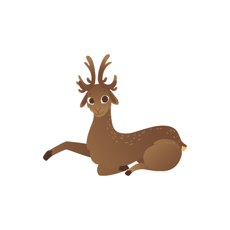 Vector illustration of cartoon horned reindeer resting isolated on white background - cute deer with antlers lying down in flat style. Side view of relaxing brown wild animal. Çizim