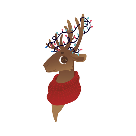 Vector illustration of reindeer head with red warm knitted scarf around neck and christmas lights on antlers in flat cartoon style - isolated cute horned animal for winter holiday design.