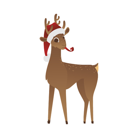 Vector illustration of reindeer in red Santa Claus hat with party whistle in mouth in flat cartoon style isolated on white background - cute Christmas symbol with horns for winter holidays design.  イラスト・ベクター素材