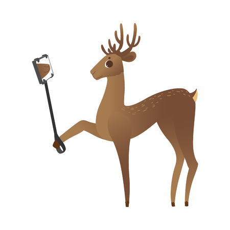 vector cute christmas reindeer making selfie by smartphone with stick. Funny winter character making photo. Merry christmas holiday design animal, isolated illustration Ilustração