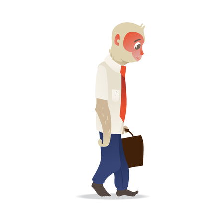 Tired and exhausted monkey in business suit trudging with briefcase in hand in flat gradient style - vector illustration of cute macaque office worker walking reluctantly isolated on white background.