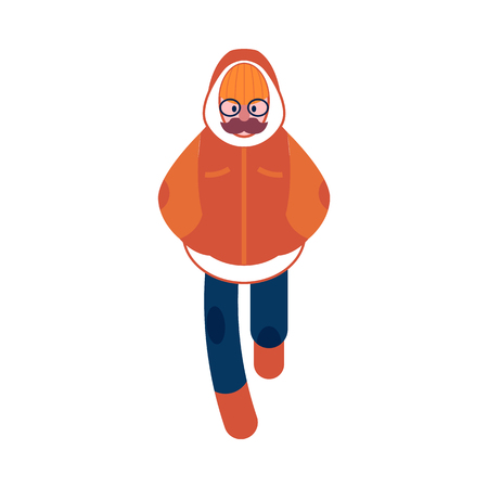 Vector flat cheerful adult man with mustache, glasses in warm winter clothing - jacket or coat, scarf, hat and boots walking smiling outdoors. Male character with positive emotions