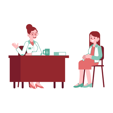 Vector happy pregnant woman with belly at gynecologist visit at clinic. Adult female character future mother of a baby at consultation. Concept of pregnancy and motherhood illustration