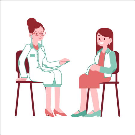 Pregnant woman at checkup with doctor in flat vector illustration - isolated young future mother with big tummy sitting at chair at doctors office and consulting with medical specialist.
