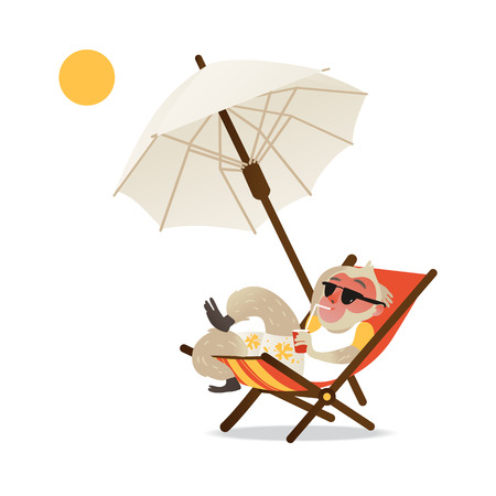 Satisfied monkey in swimwear and sunglasses lying on chaise-longue under beach umbrella, sunbathing and drinking cocktail in isolated flat gradient vector illustration style. Ilustracje wektorowe