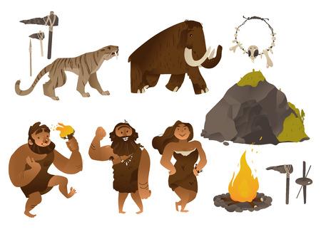Illustrazione vettoriale dell'età della pietra con varie persone antiche e strumenti e armi, animali, grotta e falò in stile gradiente piatto del fumetto isolato su priorità bassa bianca - elementi della vita dell'uomo delle caverne.