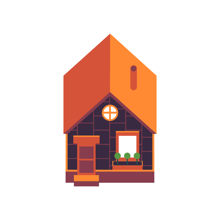 Vector illustration of private house above view in flat style isolated on white background - small cozy home building for suburban and village design, architectural element. Illustration