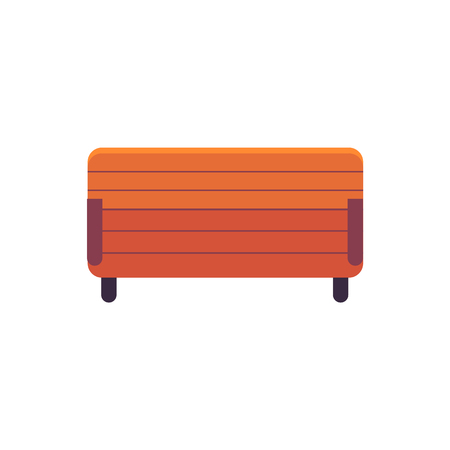 Park wooden bench above view in flat style isolated on white background. Vector illustration of brown outdoor city street seat element for resting, decorative element for urban design. Illustration