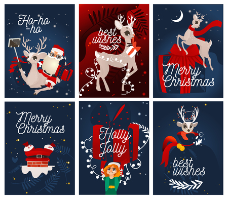 Vector xmas greeting cards, posters design with cheerful reindeer, santa claus and elf assistant with big present. Merry christmas, best wishes, holly jolly lettering with winter traditional character