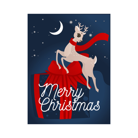 Vector illustration of Christmas and New Year congratulation card with cute reindeer in red scarf jumping in front of big wrapped gift box decorated with ribbon and bow on night sky background.