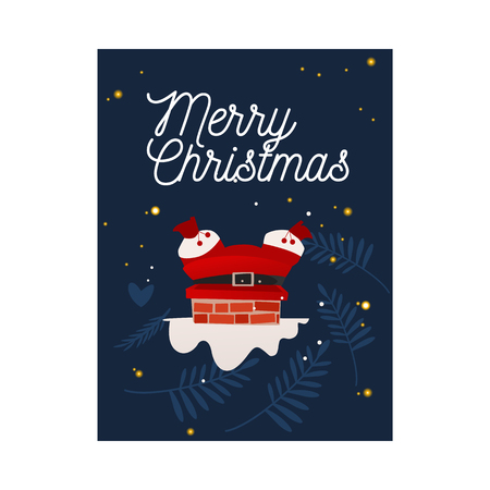 Vector illustration of Santa Claus in red costume stuck in chimney trying to come down to give Christmas and New Year gifts on vertical banner or congratulation card in flat cartoon style. Banco de Imagens - 112712311