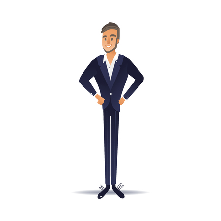 Vector illustration of confident businessman in dark blue suit isolated on white background - front view of successful business person standing with both hands on hips in flat gradient style.