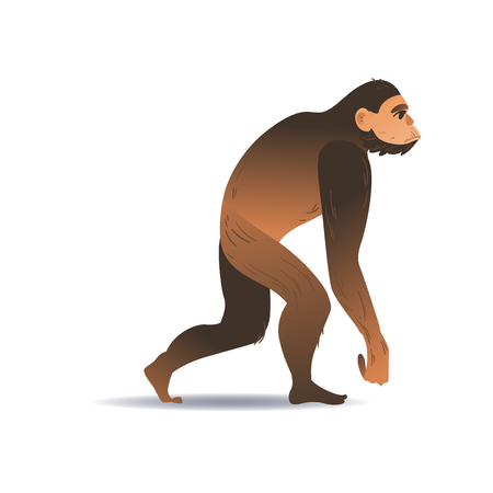 Vector cartoon neanderthal ape-like caveman with thick hair walking. Prehistory barbarian, ancient primitive homo male character. Isolated illustration