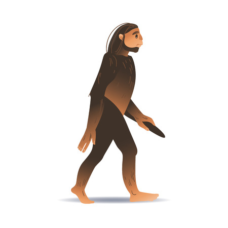 Vector cartoon neanderthal ape-like caveman with thick hair walking holding stick. Prehistory barbarian, ancient primitive homo male character. Isolated illustration Çizim