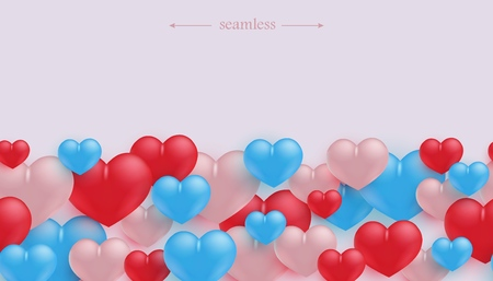 Love and friendship seamless border pattern with colorful heart shapes in realistic 3d style on light background with copy space - Valentines day congratulation frame.
