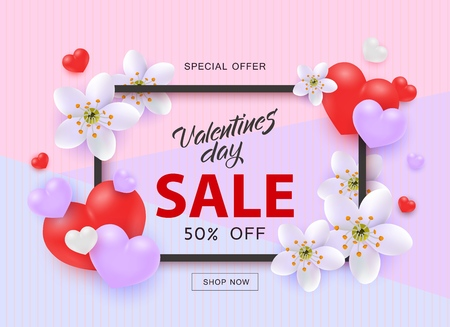 Vector illustration of Valentines Day Sale template with sign in frame surrounded by red and purple heart shapes and white flowers in realistic 3d style on pastel tricolor background.