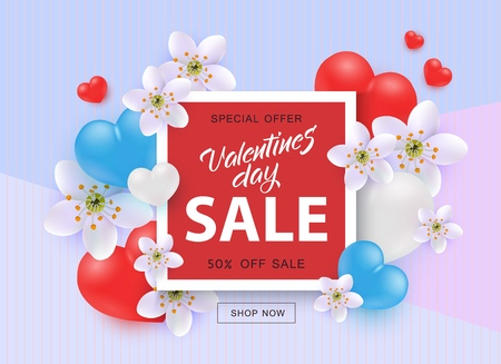 Vector illustration of Valentines Day Sale template with sign on red shape surrounded by hearts and flowers in realistic 3d style on pastel tricolor background - 14 February special offer poster.