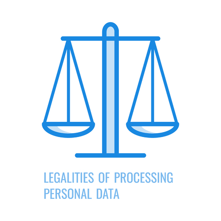 Rechtmäßigkeit der Verarbeitung personenbezogener Daten - dünnes Umrisssymbol des allgemeinen Datenschutzgrundsatzes in Vektorillustration. Liniensymbol der Waage für das Gdpr-Konzept. Vektorgrafik