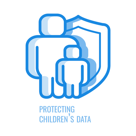 Protecting children data line icon - thin outline symbol of abstract silhouette of man and kid protected with shield in blue outline vector illustration isolated on white background, gdpr concept.