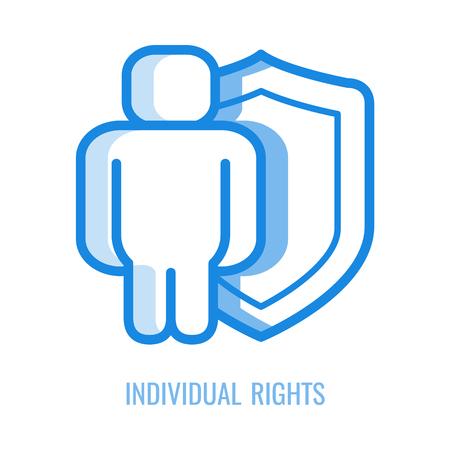 Individuelle Rechte Symbol Leitung - abstrakte menschliche Silhouette geschützt mit Schild in blauer Umriss-Vektor-Illustration isoliert auf weißem Hintergrund. Lineares Symbol für die rechtliche Sicherheit und den Schutz des Menschen.