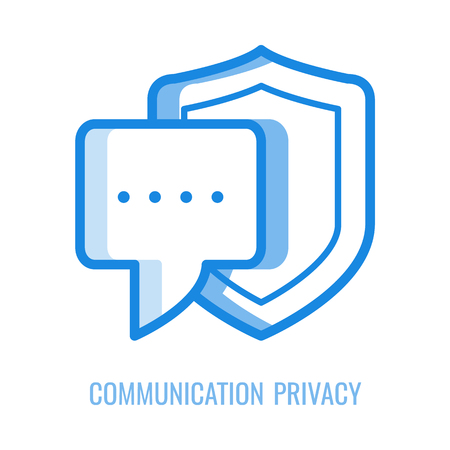 Communication privacy icon - speech or correspondence bubble protected with shield in thin outline vector illustration isolated on white background. Symbol of human right to confidentiality. Иллюстрация