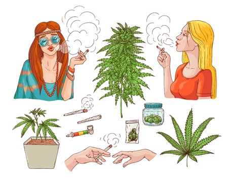 Vector cannabis smoking sketch collection. Hippie girl with weed joint, hemp spliff, young woman with cigarette, marijuana plant in pot, buds in package, hands with bong. Isolated illustration 向量圖像