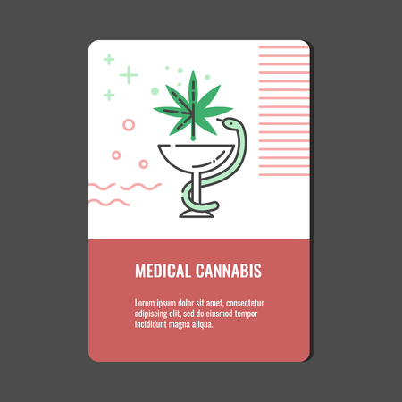 Medical cannabis vertical banner with line icon of snake twined around bowl with marijuana leaf - isolated vector illustration of legalization and pharmacy use of hemp concept. Stock Vector - 127343863