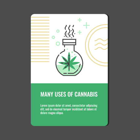 Beneficial use of cannabis concept - vertical banner with line icon of marijuana preparing in glass chemical test tube in isolated vector illustration for hemp legalization and medical use.