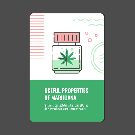 Useful properties of marijuana vertical banner with line icon of CBD oil or cannabis extract in bottle with leaf - isolated vector illustration of medical and pharmacy use of marihuana concept. Stock Vector - 127343867