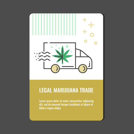 Legal marijuana trade vertical banner with line icon of delivery truck with cannabis leaf - isolated vector illustration of van with reefer for drug consumption and hemp legalization concept.