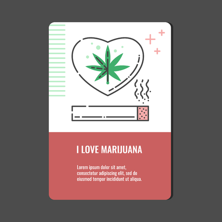 Loving marijuana vertical banner with line icon of rolled cannabis joint with smoke and hemp leaf in heart shape - isolated vector illustration of marihuana abuse concept.