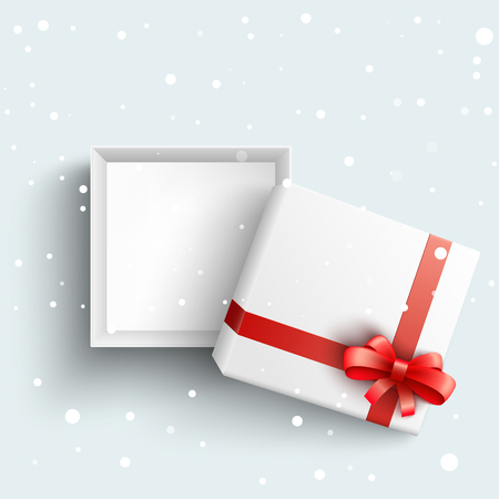 White present box with red ribbon bow top view. Vector opened surprise package for christmas, birthday celebration design. Boxing day, black friday discounts banners element, snowfall background