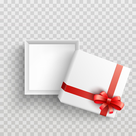 White present box with red ribbon bow top view. Vector opened surprise package for christmas, birthday celebration design. Boxing day, black friday discount banners element, transparent background Vetores