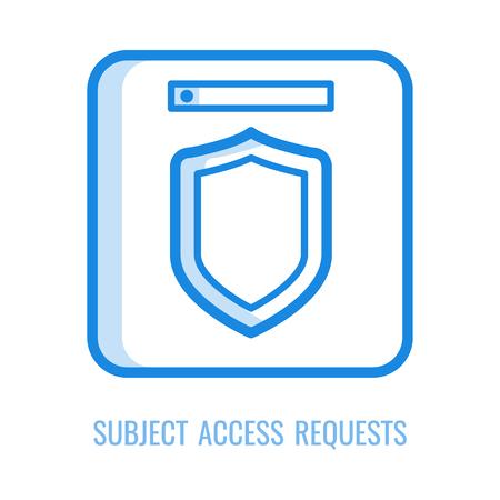Icône de demandes d'accès au sujet - symbole de contour mince du principe général de réglementation de la protection des données dans l'illustration vectorielle. Symbole de ligne du bouclier pour le concept de sécurité du PIB et des informations personnelles. Vecteurs