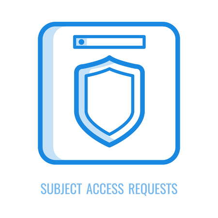 Subject access requests icon - thin outline symbol of general data protection regulation principle in vector illustration. Line symbol of shield for gdpr and personal information security concept. Banque d'images - 127343880