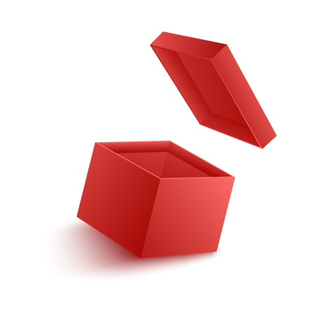 Vector illustration of open empty red paper box with flying cover in realistic 3d style isolated on white background. Template of carton package for surprise and giving gift concept.