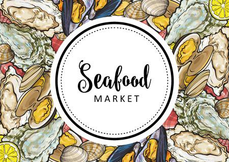 Mercato del pesce di vettore, logo del caffè, poster pubblicitario con motivo quadrato di delicatezza di animali subacquei. Composizione marina con cozze, conchiglie e ostriche con fettine di limone