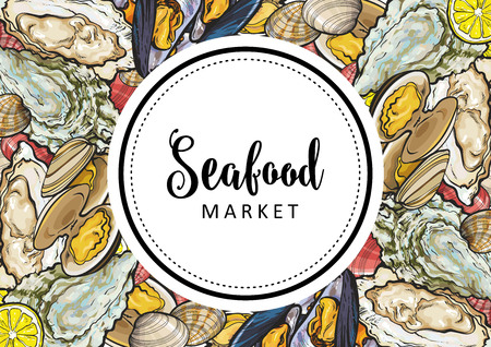 Vector seafood market, cafe logo, advertising poster with square underwater animals delicacy pattern. Marine composition with mussels, seashells and oysters with lemon slices Foto de archivo - 112712324