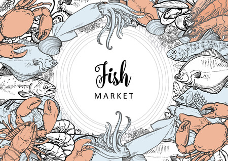 Vector fish market monochrome pattern, seafood restaurant, cafe logo, advertising poster with underwater animal. Marine composition with squid, lobster, crayfish, tuna, trout flatfish with condiments