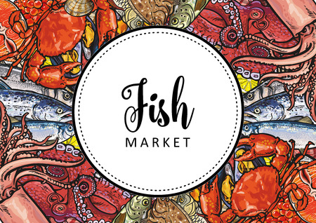 Vector fish market, seafood restaurant, cafe logo, advertising poster with square underwater animals delicacy pattern. Marine composition with squid meat steak octopus and trout with seashells Illustration