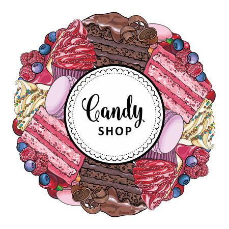 Bannière de magasin de bonbons avec des tartes dessinées à la main décorées de baies, de cupcakes et de macarons collectés en forme ronde isolés sur fond blanc - illustration vectorielle de produits de confiserie sucrée. Vecteurs