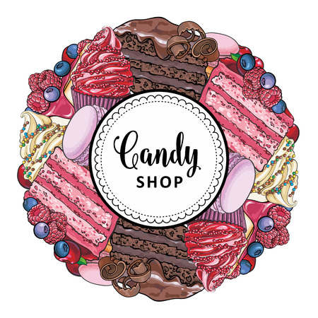 Candy shop banner with hand drawn pies decorated with berries, cupcakes and macarons collected in round shape isolated on white background - vector illustration of sweet confectionery products. 向量圖像