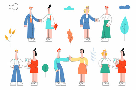Vector stylized corporate people set. Business characters shaking hands, communicating, giving high five and argue. Men, women managers, office workers, colleagues and friends.