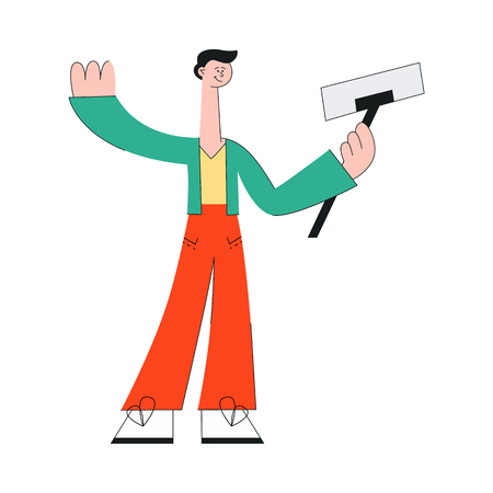 Vector stylized man at party making selfie using smartphone at stick waving hand. Smiling cheerful male character at birthday, corporate even or holiday celebration, isolated illustration Ilustração
