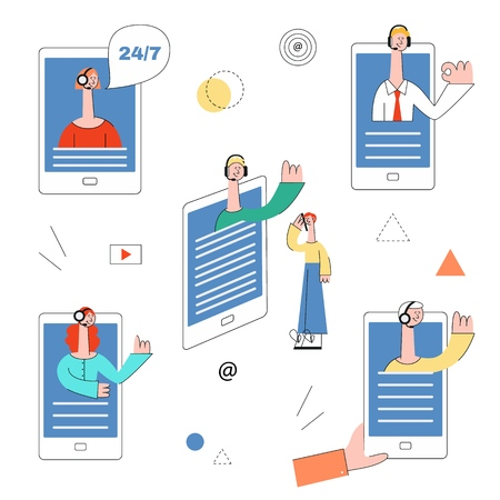 Vector online assistant concept characters set with woman, men in headset waving hand from smartphone screen to female customer as positive communication symbol Cusomer cupport helpline illustration