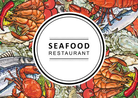 Restaurant de fruits de mer de vecteur, logo de café, affiche publicitaire avec motif carré de délicatesse d'animaux sous-marins. Composition marine aux crevettes, steak de viande, truite, moules et écrevisses aux légumes