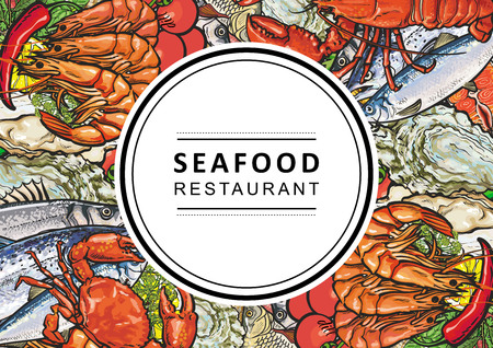 Vector seafood restaurant, cafe logo, advertising poster with square underwater animals delicacy pattern. Marine composition with shrimps, meat steak, trout, mussels and crayfish with vegetables Illustration