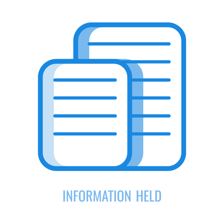 Information held line icon - vector illustration of blue outline symbol of two sheets of paper with text isolated on white background. Documents with privacy personal data for gdpr concept.