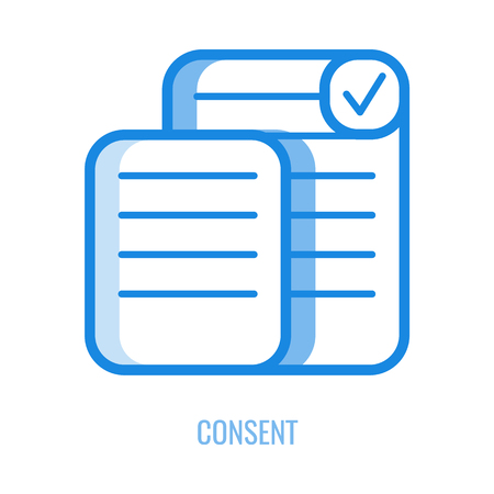 Consent line icon - outline symbol of documents with personal information and checkbox with mark isolated on white background. Vector illustration of general data protection regulation concept. Banque d'images - 127343906