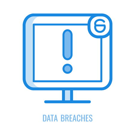 Data breaches line icon - blue outline symbol of big exclamation mark on screen of computer monitor and open lock sign isolated on white background. Vector illustration of attempted network theft. Illustration